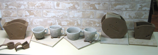 陶芸体験のWEBイベント取材撮影した陶芸作品がたくさん