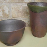 天然の灰被りのビアジョッキと茶碗