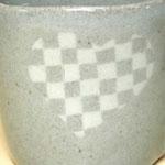 ハート型の練りこみ象嵌カップ