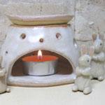 陶芸体験で作ったアロマキャンドルスタンド