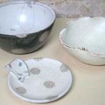 陶芸教室の陶芸体験プランで作った白い器3枚